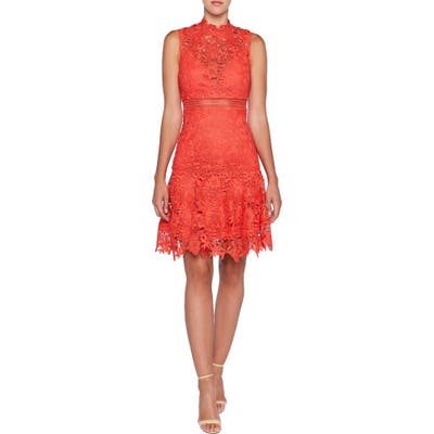 Bardot Elise Lace Cocktail Dress, Red
