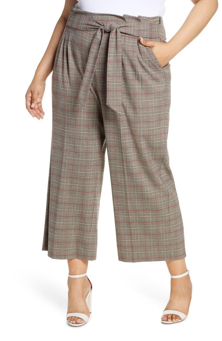 1.STATE Acoustic Plaid Paperbag Waist Crop Pants, Main, color, RICH BLACK