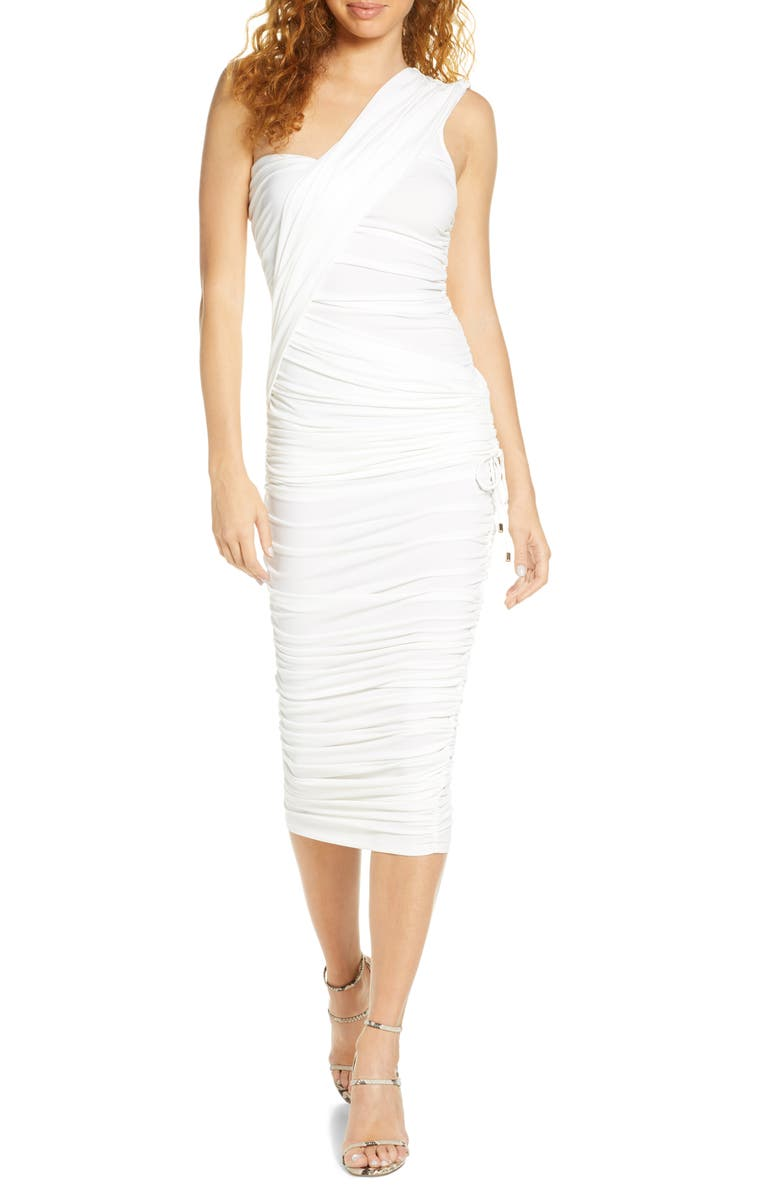 SIGNIFICANT OTHER Orion One-Shoulder Ruched Dress, Main, color, WHITE