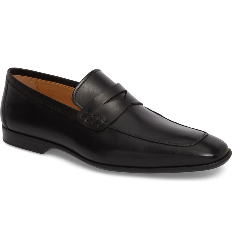 MAGNANNI Ramiro II Apron Toe Penny Loafer, Main, color, BLACK LEATHER