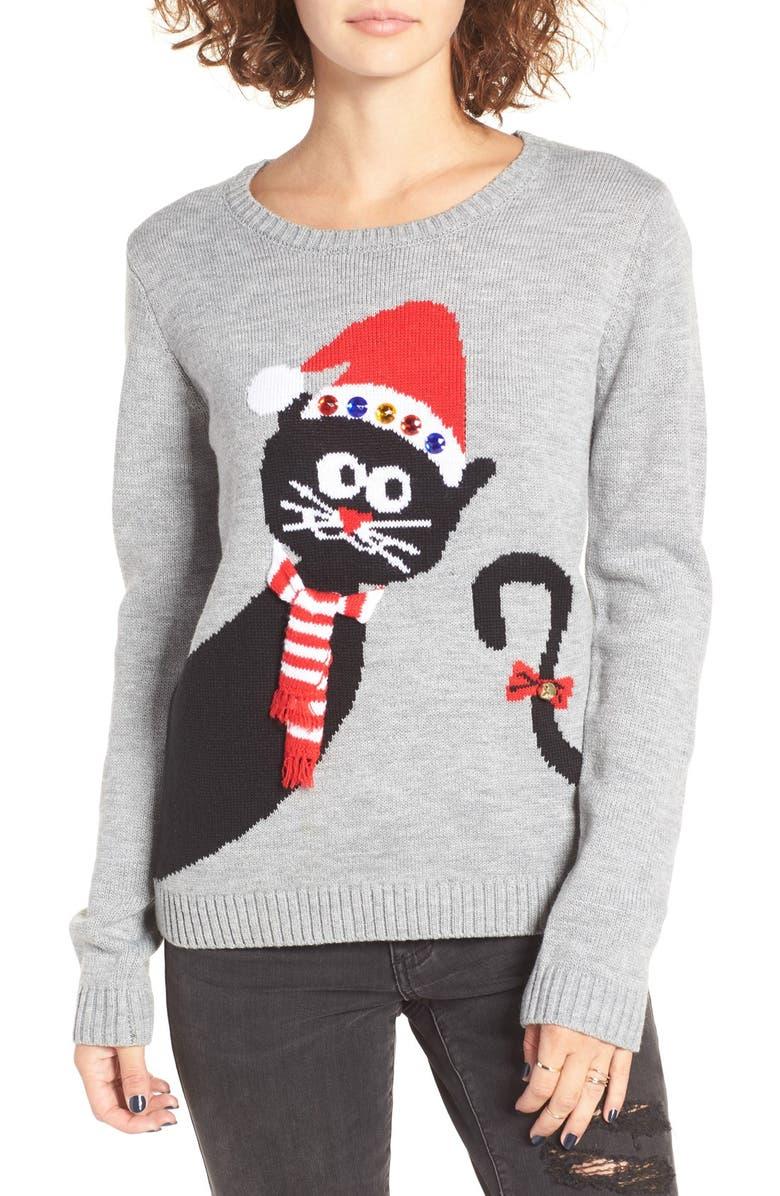 Cat Christmas Sweater.Peekaboo Cat Christmas Sweater