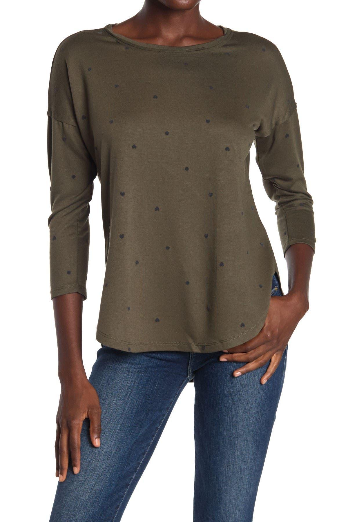 Image of Bobeau Flocked 3/4 Length Sleeve Tunic