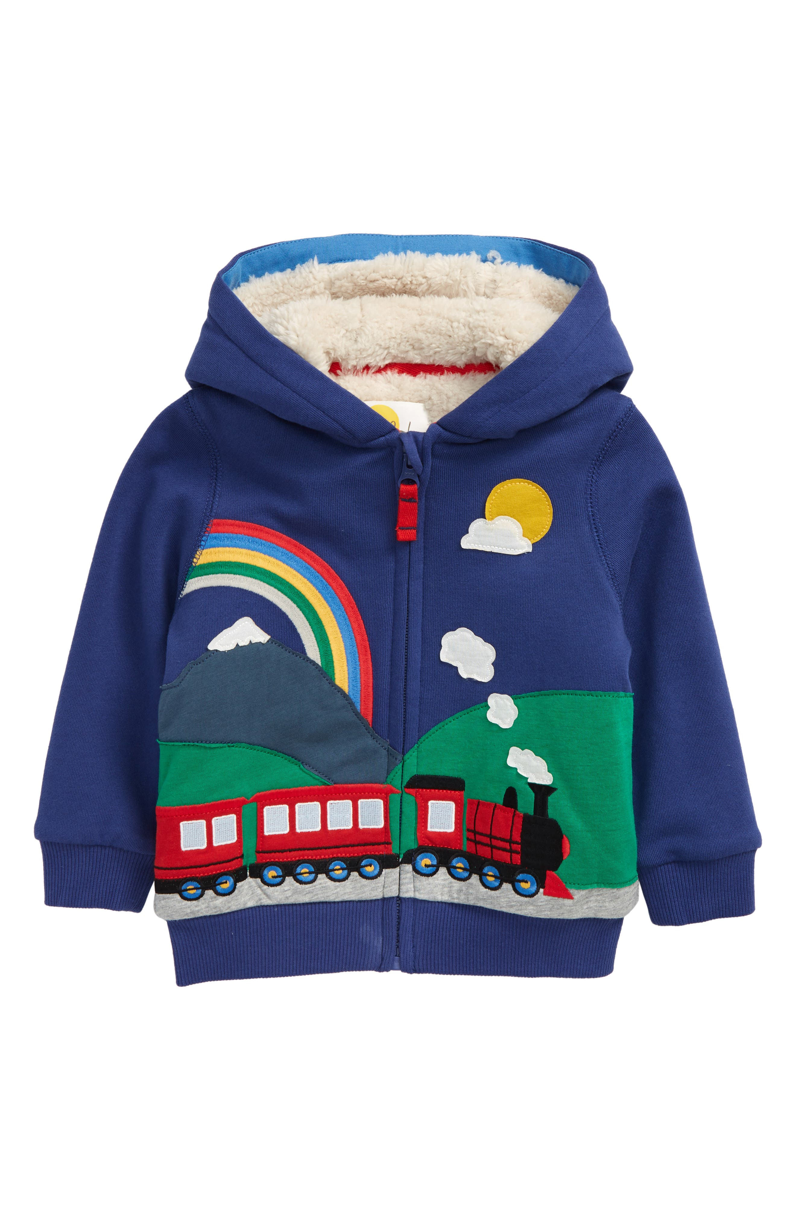 Plush high-pile fleece brings never-ending warmth and comfort to a full-zip hoodie decorated with darling patches and playful embroidery. Style Name: Mini Boden High-Pile Fleece Lined Hoodie (Baby). Style Number: 6104873. Available in stores.