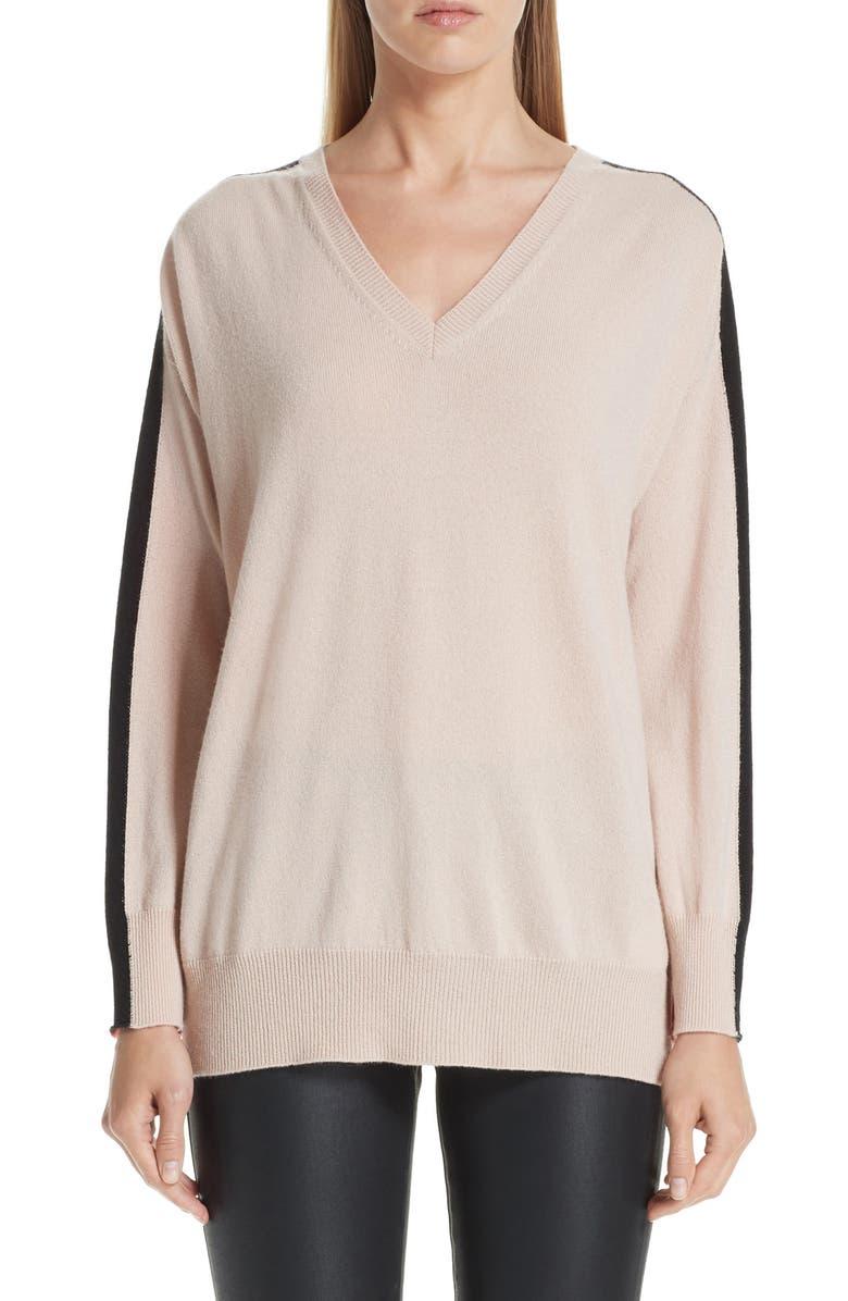 EMPORIO ARMANI Stripe V-Neck Cashmere Sweater, Main, color, 650