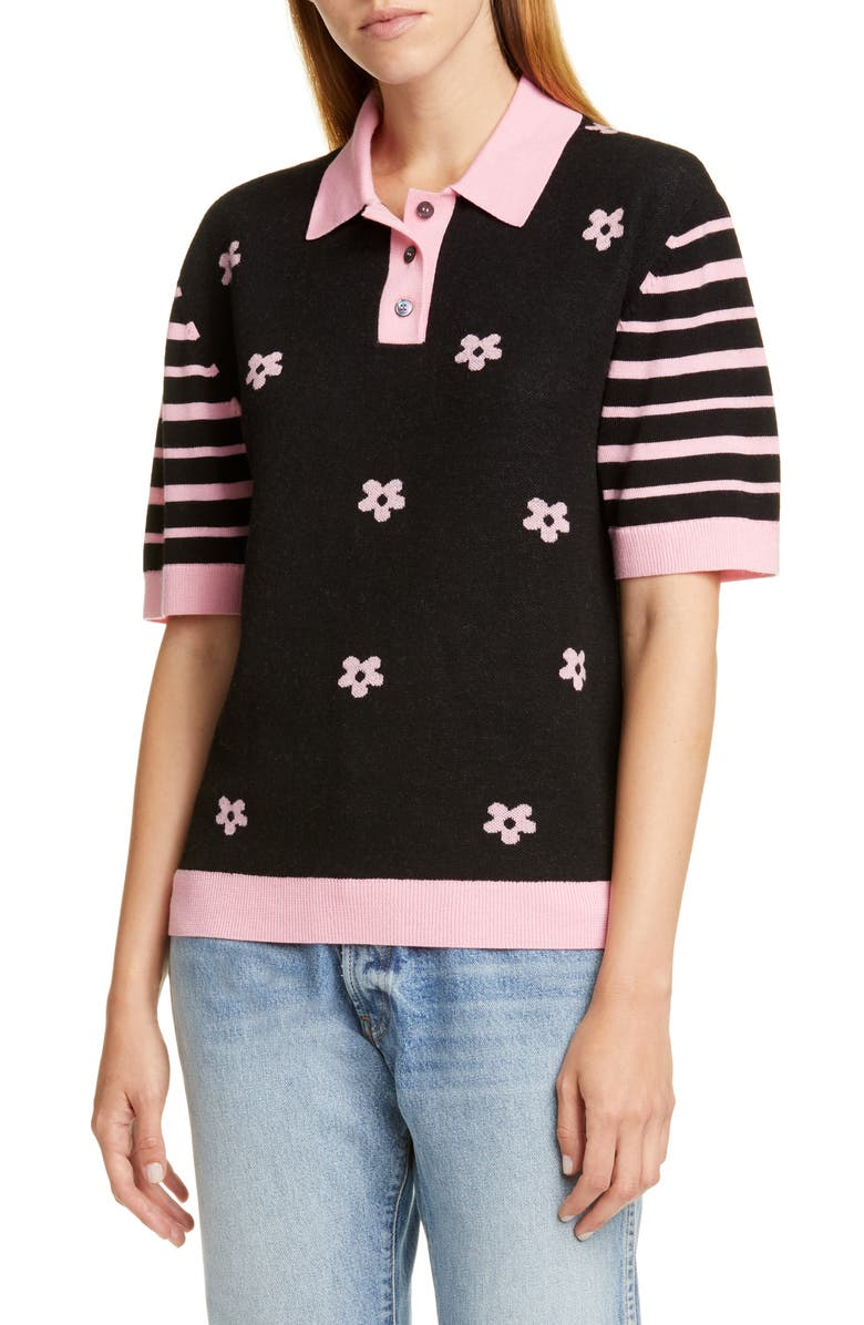 SANDY LIANG Angel Short Sleeve Polo Sweater, Main, color, BLACK/ PINK