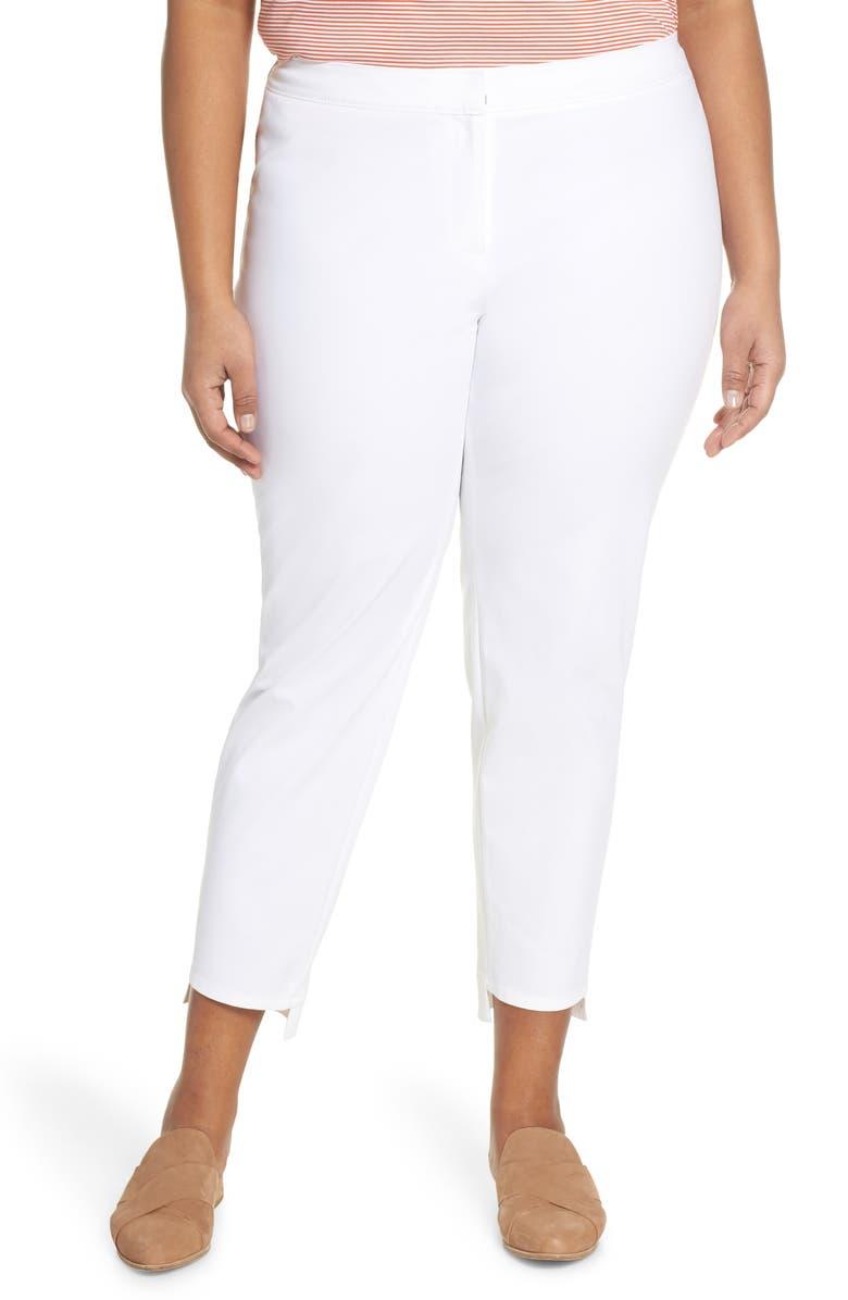 LAFAYETTE 148 NEW YORK Manhattan Fundamental Step Hem Slim Pants, Main, color, WHITE