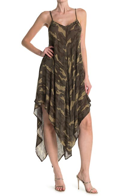 Image of ELAN Camo Hanky Hem Midi Slip Dress