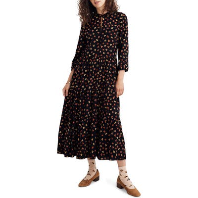 Madewell Feline Floral Button Front Tier Midi Dress, Black