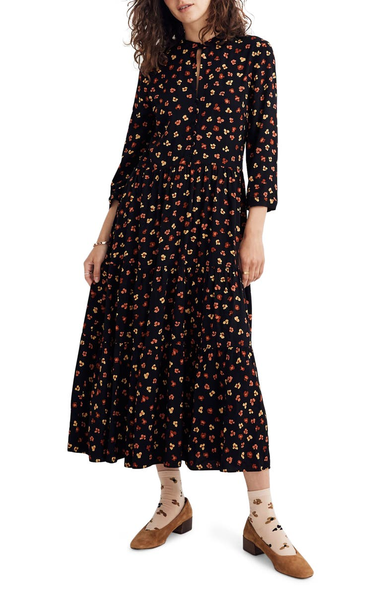 MADEWELL Feline Floral Button Front Tier Midi Dress, Main, color, 009