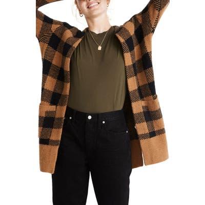 Madewell Kent Buffalo Check Cardigan Sweater, Black