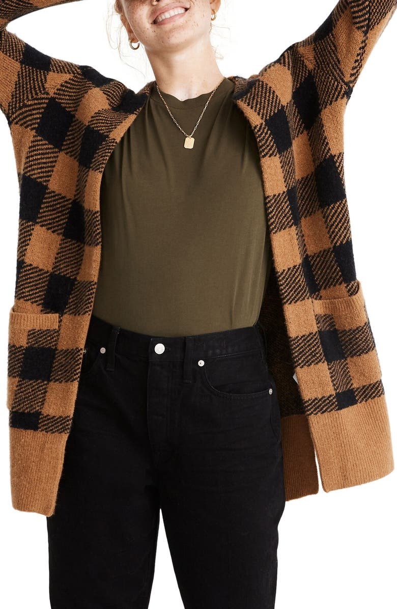 MADEWELL Kent Buffalo Check Cardigan Sweater, Main, color, 001
