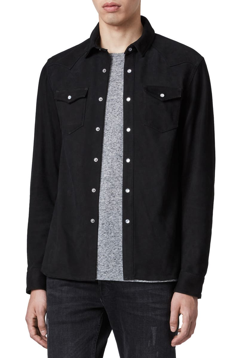 ALLSAINTS Stanway Slim Fit Leather Shirt Jacket, Main, color, 003
