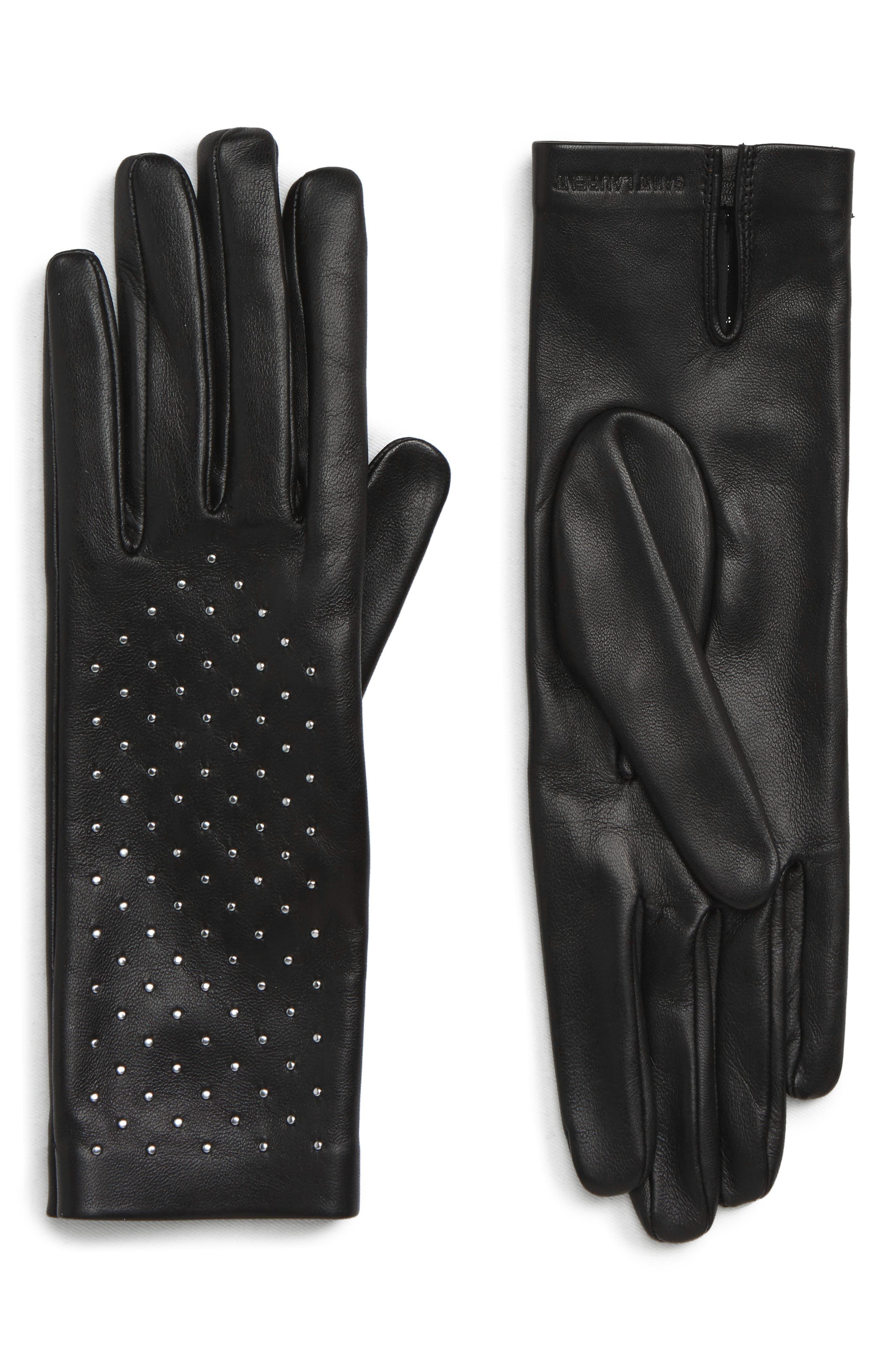 Saint Laurent Studded Leather Gloves, Black