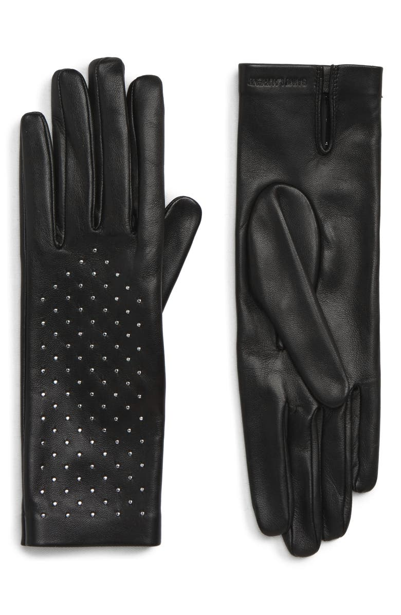 SAINT LAURENT Studded Leather Gloves, Main, color, 001