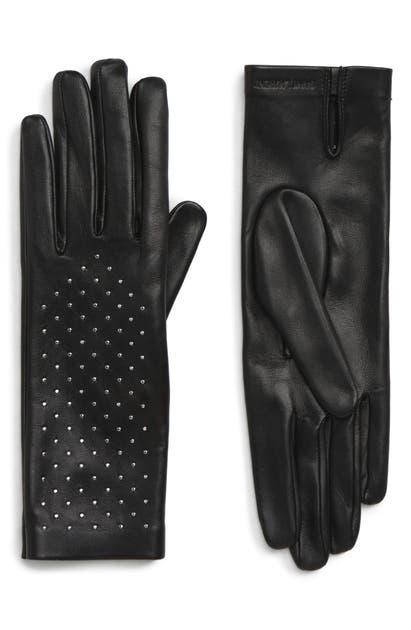 Saint Laurent Studded Leather Gloves In Noir/ Argent