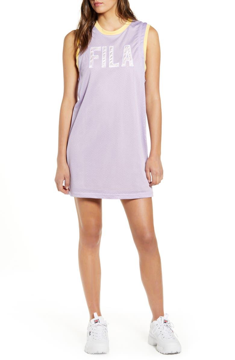 FILA Candella Jersey Minidress, Main, color, PASTEL LILAC/ PALE BANANA