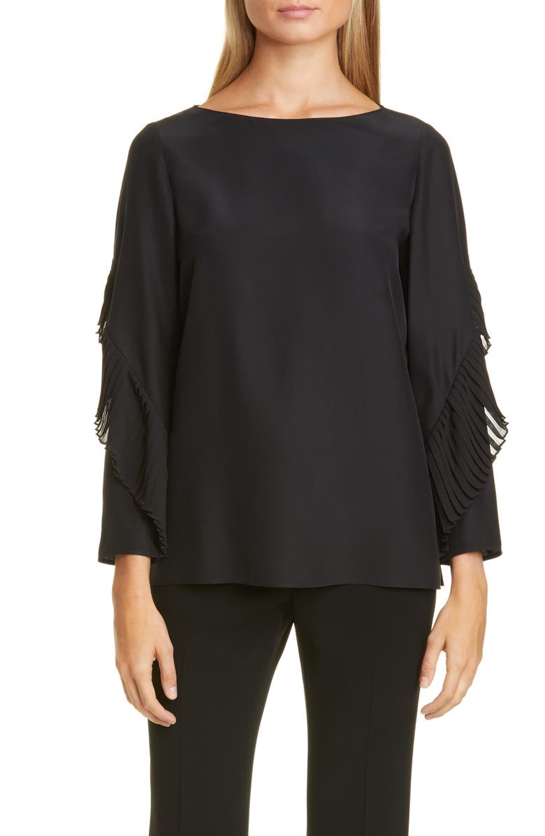 LAFAYETTE 148 NEW YORK Alessia Pleated Detail Silk Blouse, Main, color, 001