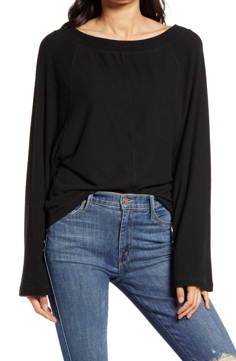 TREASURE & BOND Cozy Ribbed Raglan Sleeve Top, Main, color, BLACK