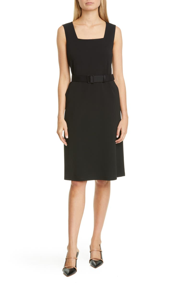 LAFAYETTE 148 NEW YORK Monica Belted Dress, Main, color, BLACK