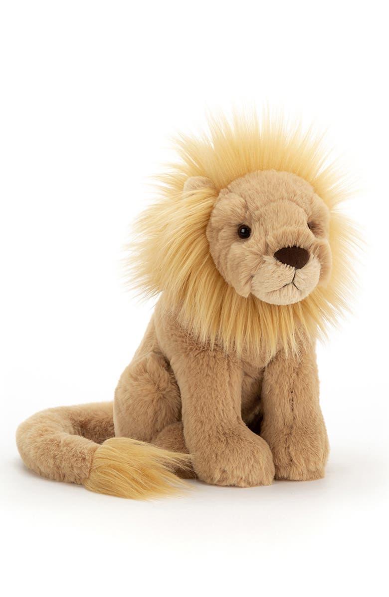 JELLYCAT Medium Leonardo Lion Stuffed Animal, Main, color, BROWN