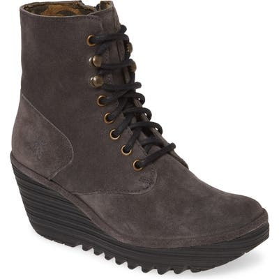 Fly London Ygot Wedge Bootie, Grey