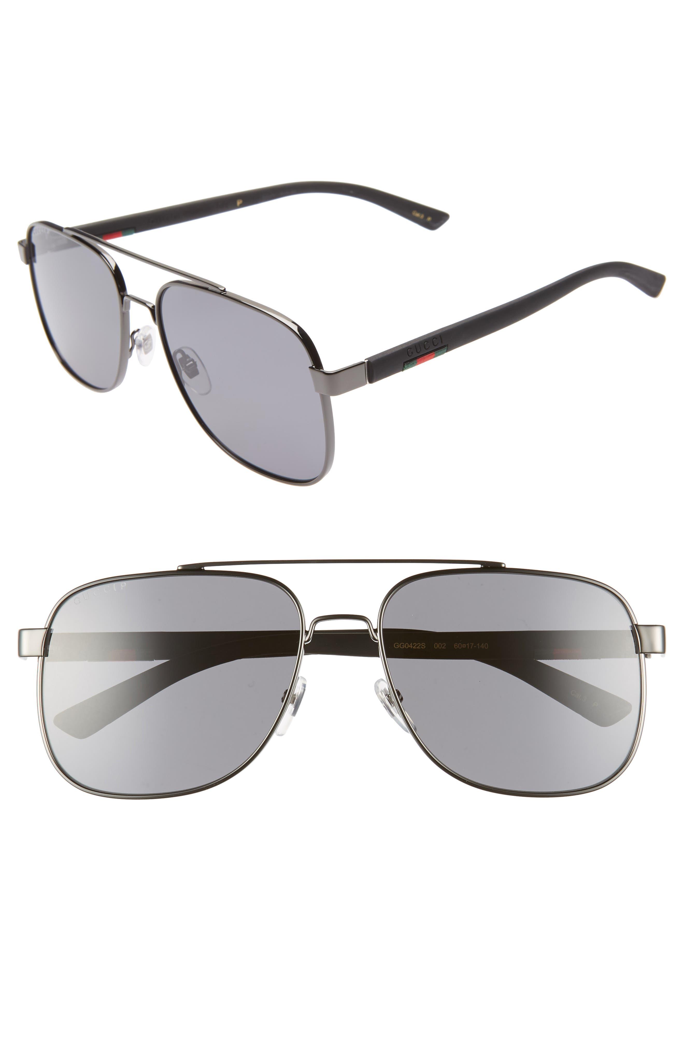 ,                             Navigator 60mm Polarized Aviator Sunglasses,                             Main thumbnail 1, color,                             RUTHENIUM