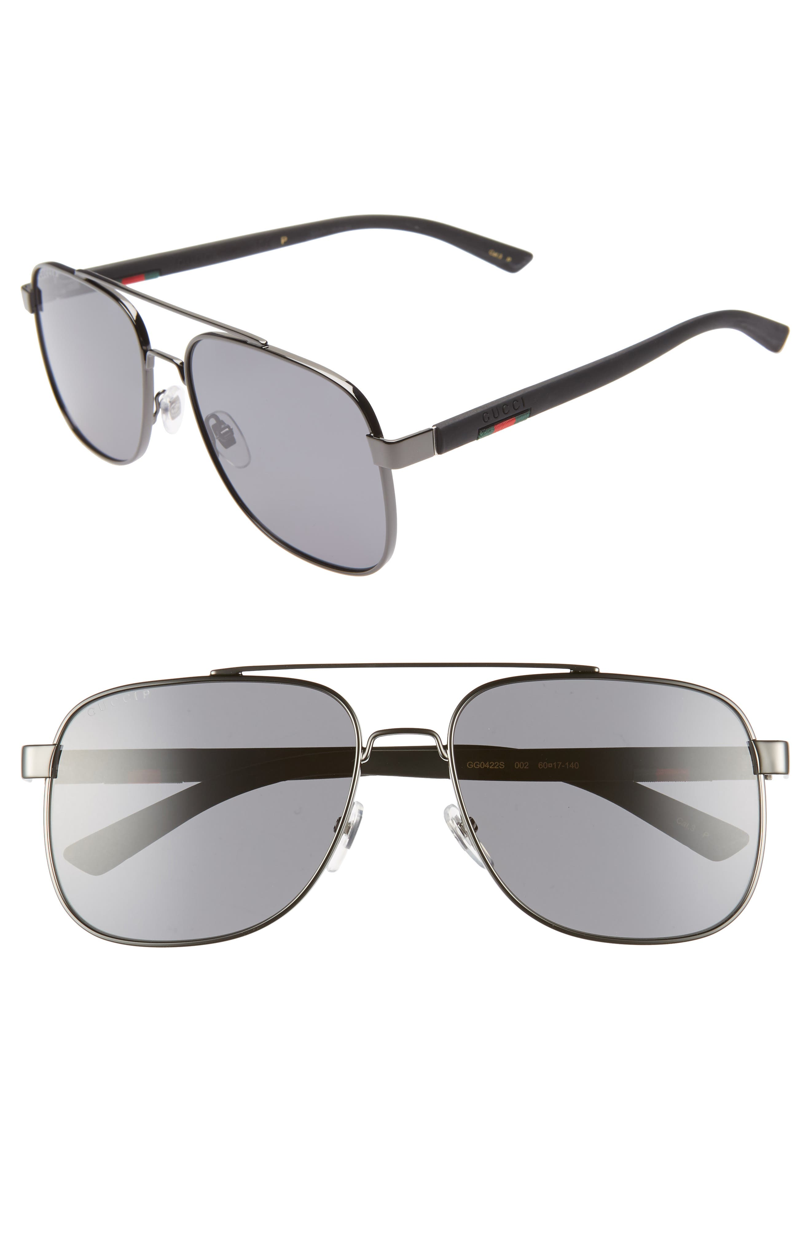 Navigator 60mm Polarized Aviator Sunglasses, Main, color, RUTHENIUM
