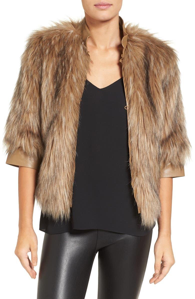 LOVE TOKEN Faux Fur Jacket, Main, color, 250