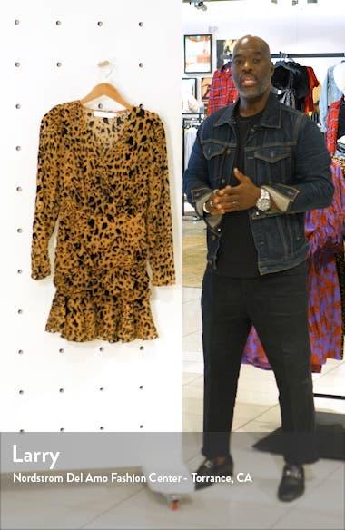 Nikita Leopard Print Wrap Front Long Sleeve Minidress, sales video thumbnail