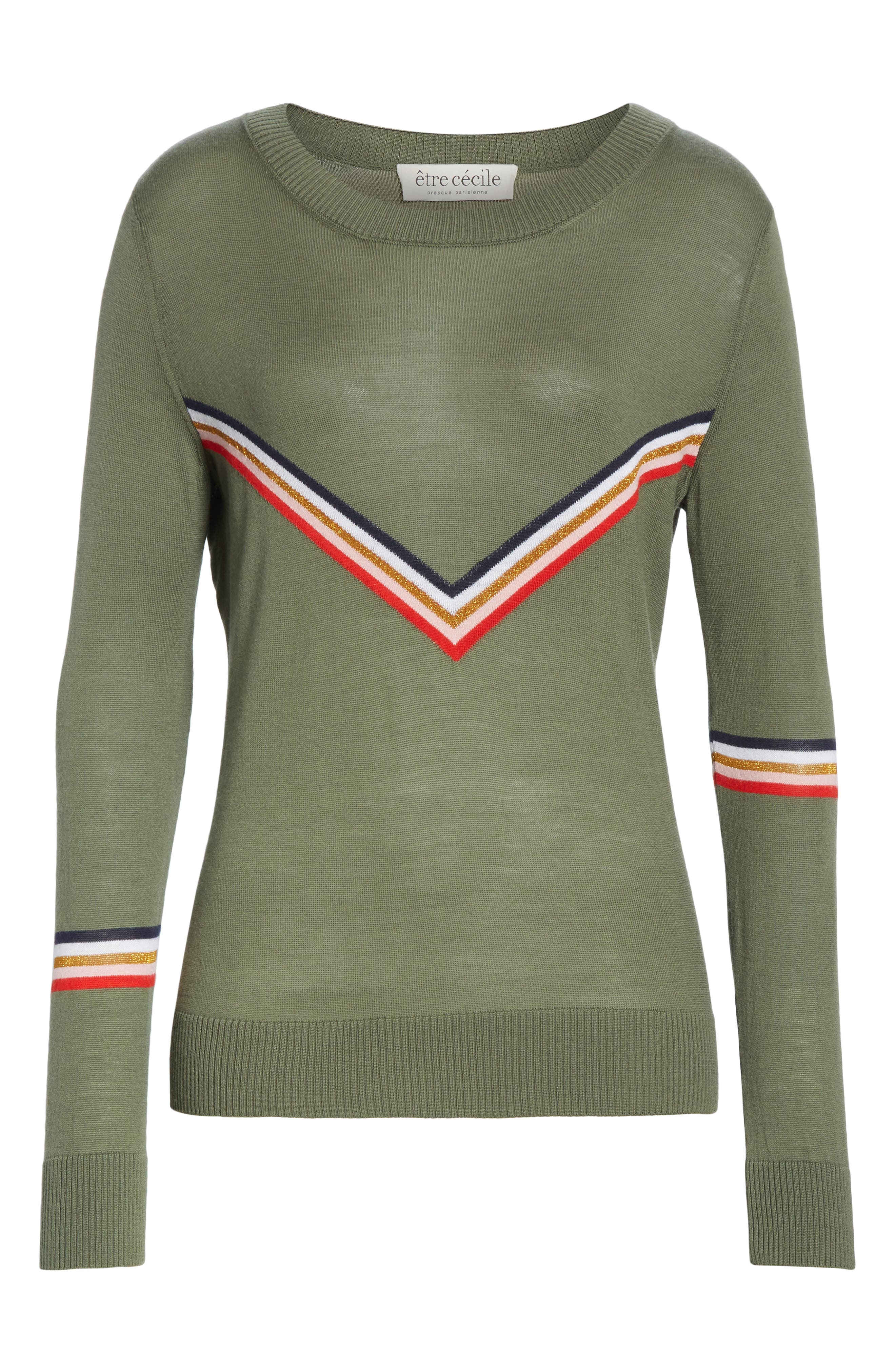 ,                             Chevron Stripe Sweater,                             Alternate thumbnail 6, color,                             KHAKI