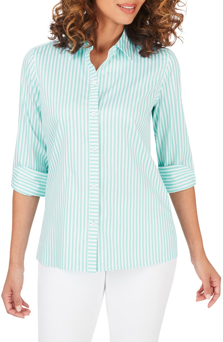 FOXCROFT Morgan Stripe Non-Iron Button-Up Cotton Blend Shirt, Main, color, CREME DE MINT