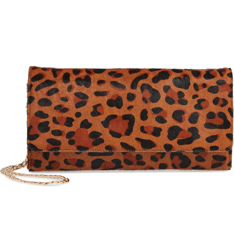 NORDSTROM Selena Clutch, Main, color, BROWN AZTEC LEOPARD