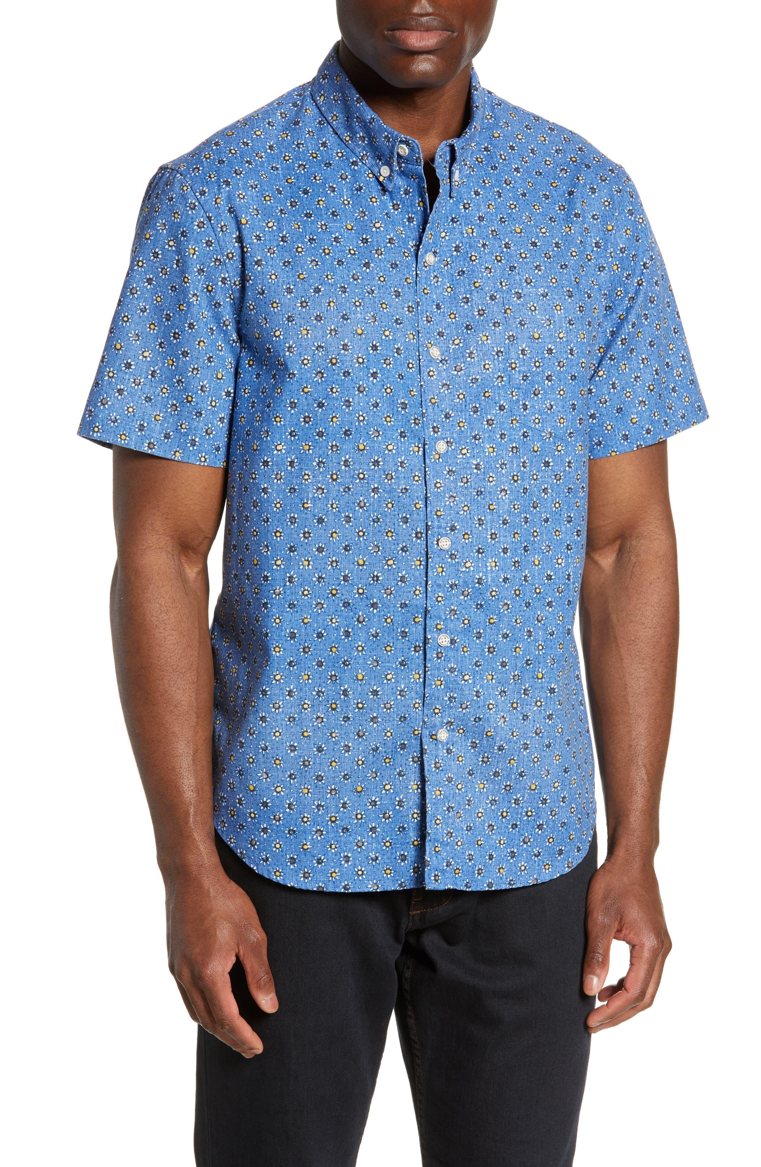 Reyn Spooner Java Flowers Regular Fit Sport Shirt, Blue