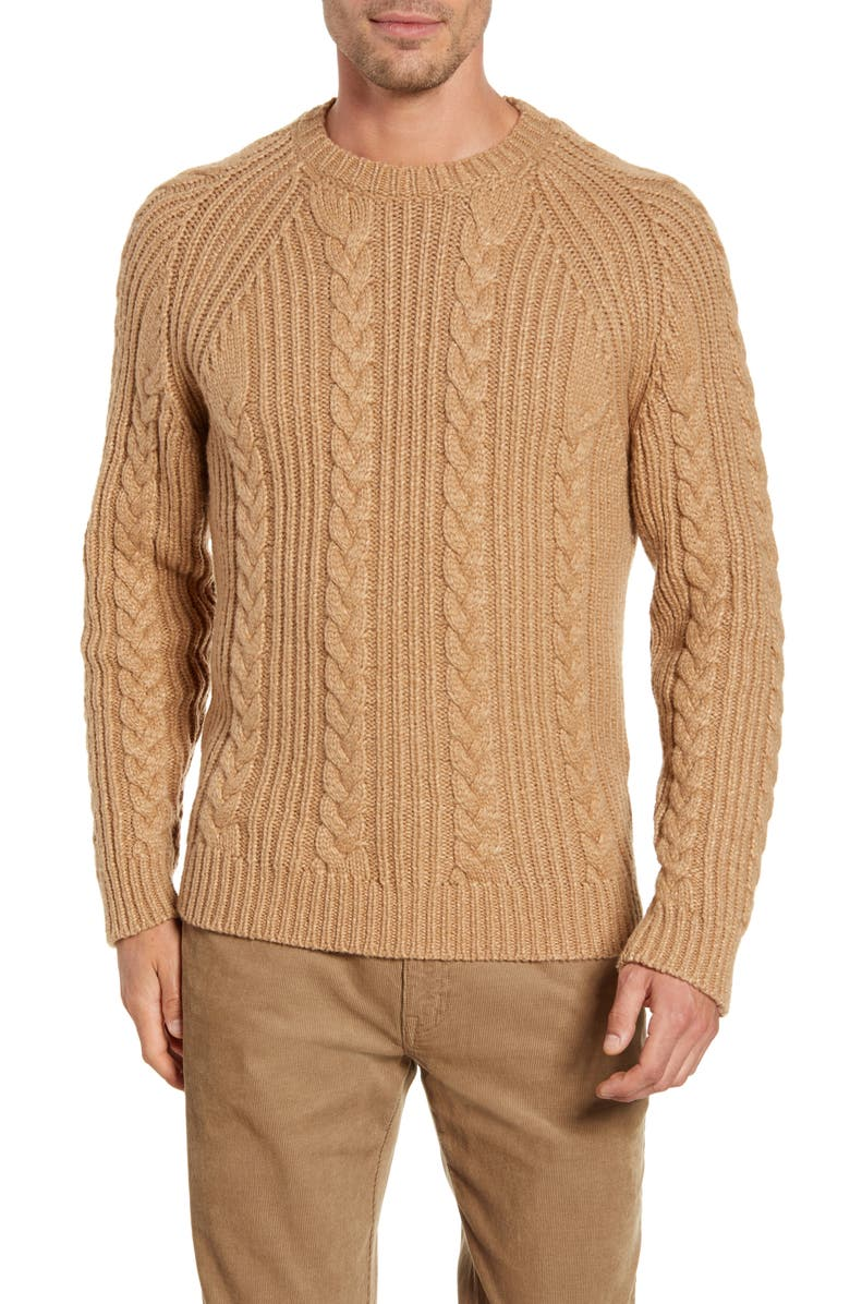 PETER MILLAR Chalet Cable Crewneck Sweater, Main, color, CAMMELLO