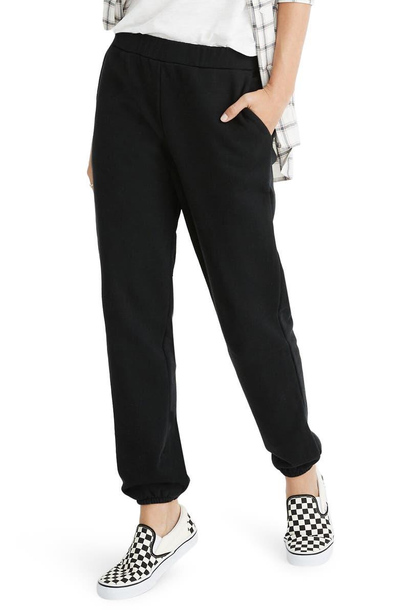 MADEWELL Jogger Sweatpants, Main, color, TRUE BLACK