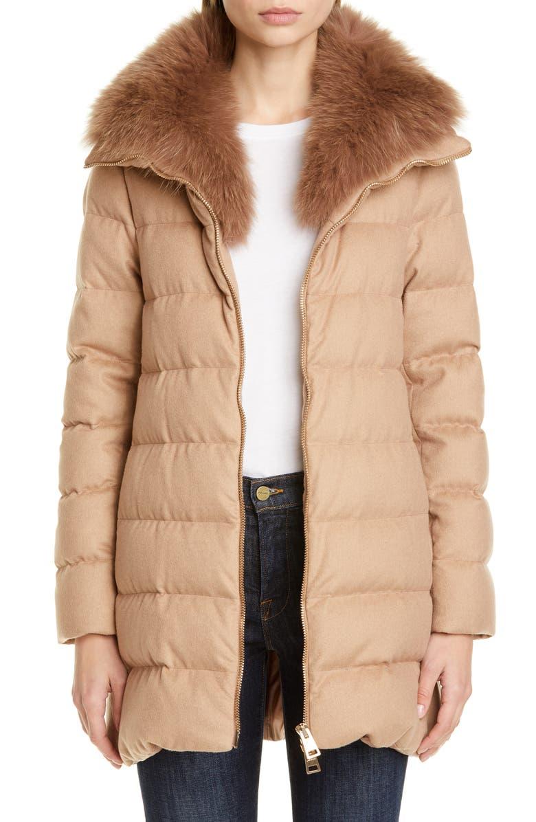 HERNO Hilo Genuine Fox Fur Collar Silk & Cashmere A-Line Coat, Main, color, CAMEL