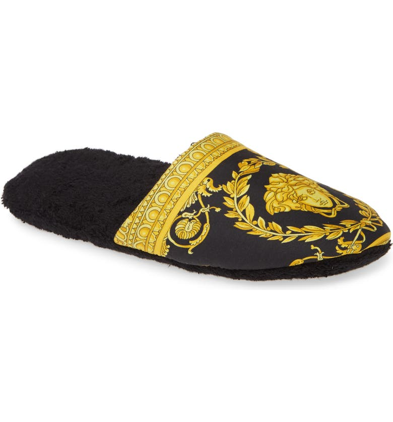 VERSACE Barocco Slippers, Main, color, 001