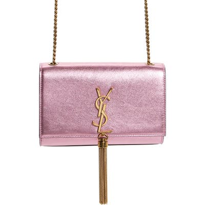 Saint Laurent Small Kate Metallic Leather Crossbody Bag - Pink