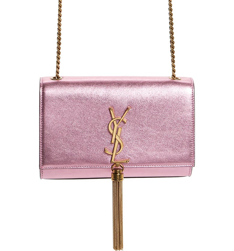 SAINT LAURENT Small Kate Metallic Leather Crossbody Bag, Main, color, VEGAS PINK