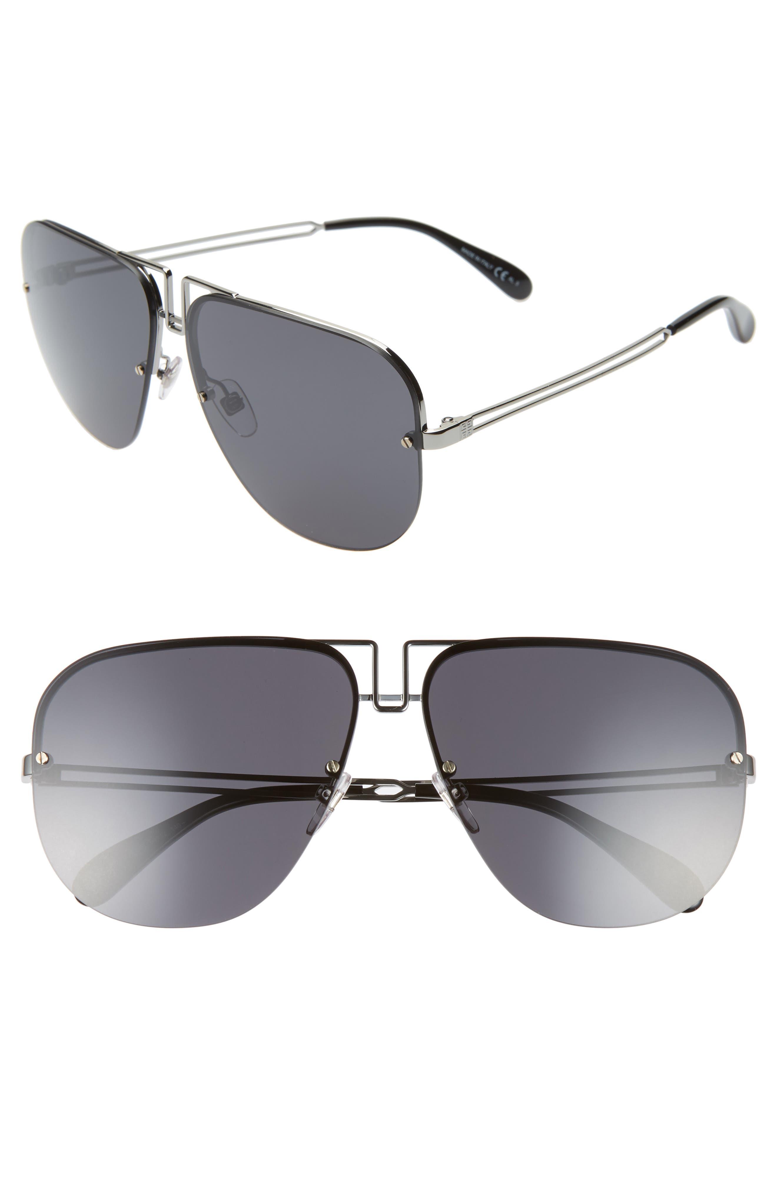 Givenchy Oversize Aviator Sunglasses - Ruthenium/ Black