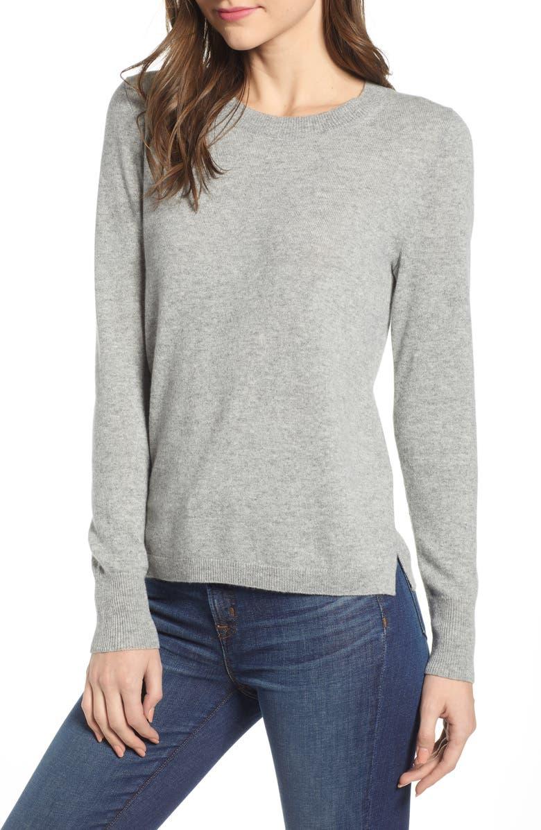 J.CREW Crewneck Cashmere Sweater, Main, color, HEATHER GREY