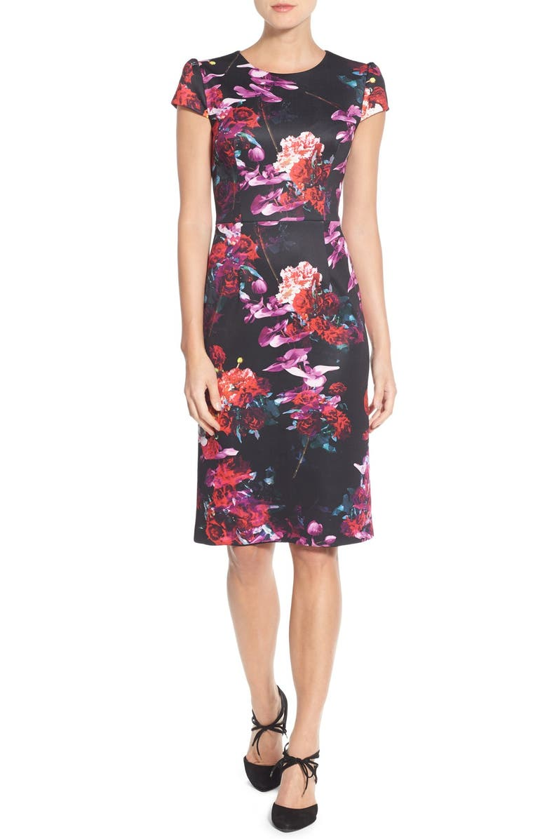 BETSEY JOHNSON Floral Print Knit Sheath Dress, Main, color, 006