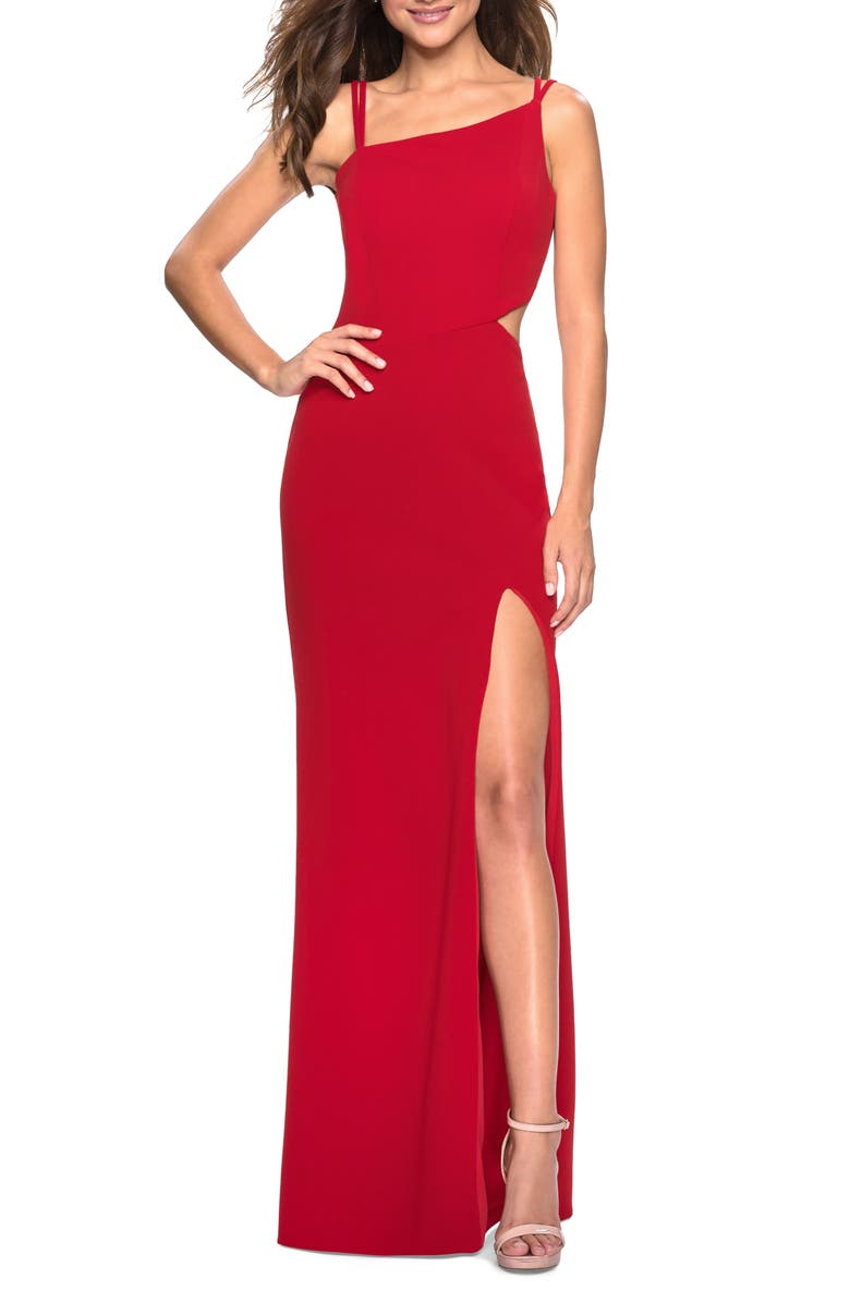LA FEMME High Slit Strappy Back Evening Gown, Main, color, RED