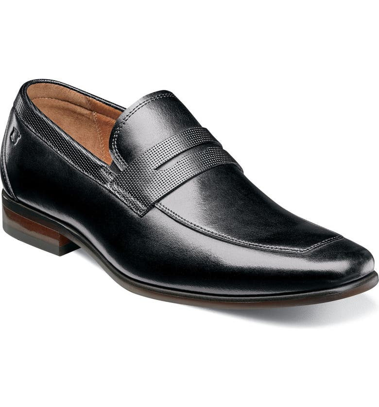 FLORSHEIM Postino Apron Toe Textured Penny Loafer, Main, color, BLACK LEATHER