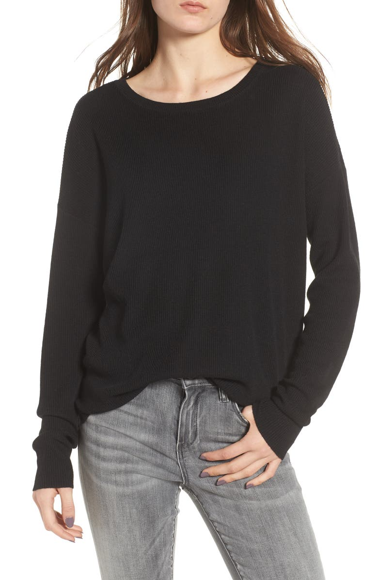 BP. Drop Shoulder Ribbed Sweater, Main, color, 001
