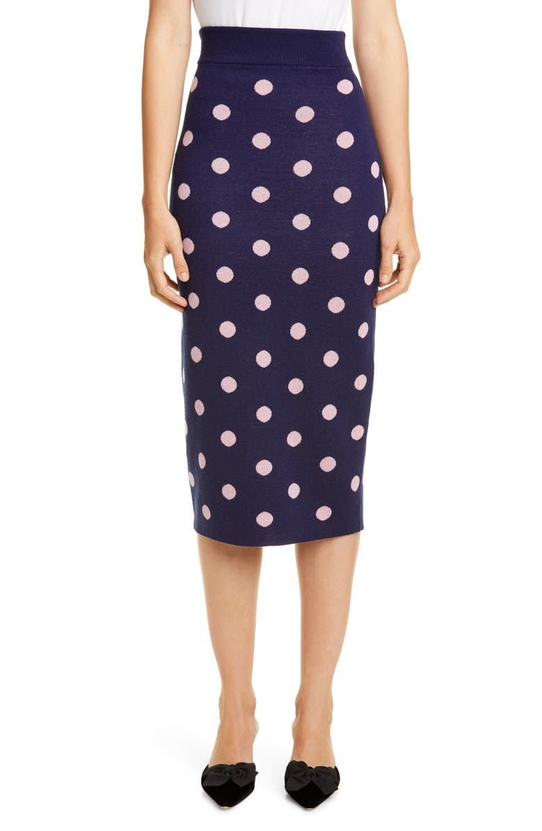 VICTOR GLEMAUD Polka Dot Jacquard Midi Skirt, Main, color, BLUE AND PINK
