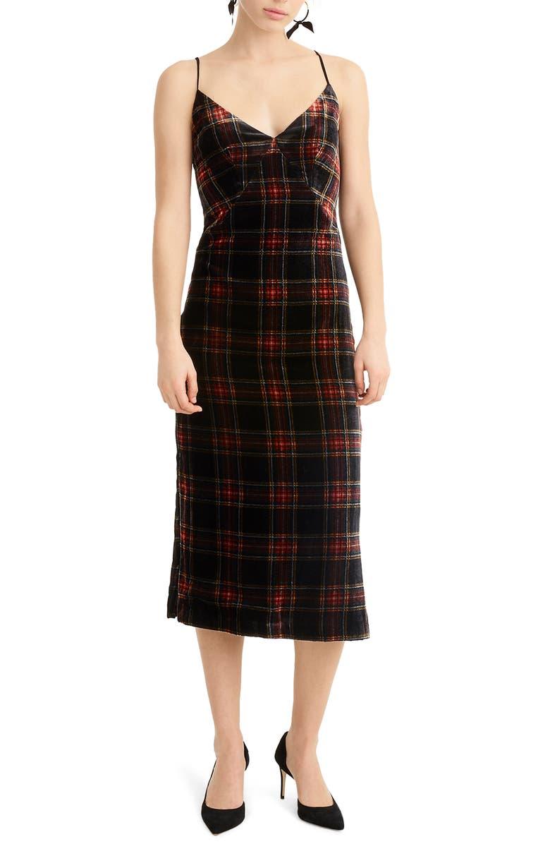 J.CREW Spaghetti Strap Midi Dress in Velvet Stewart Tartan, Main, color, 001