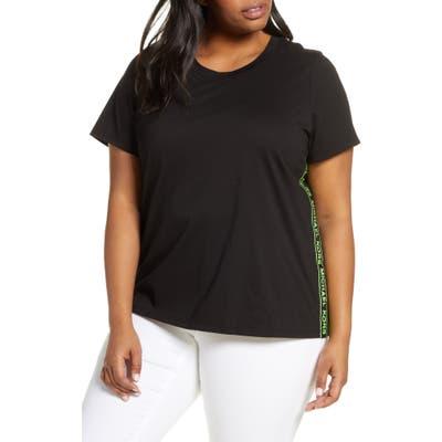 Plus Size Michael Michael Kors Logo Stripe Tee, Black