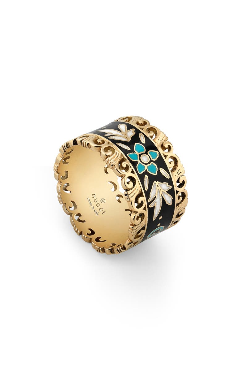 GUCCI Icon Blooms Enamel Band, Main, color, YELLOW GOLD