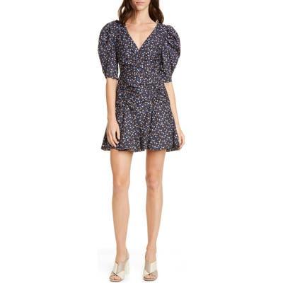 La Vie Rebecca Taylor Firefly Floral Puff Sleeve Cotton Dress, Black